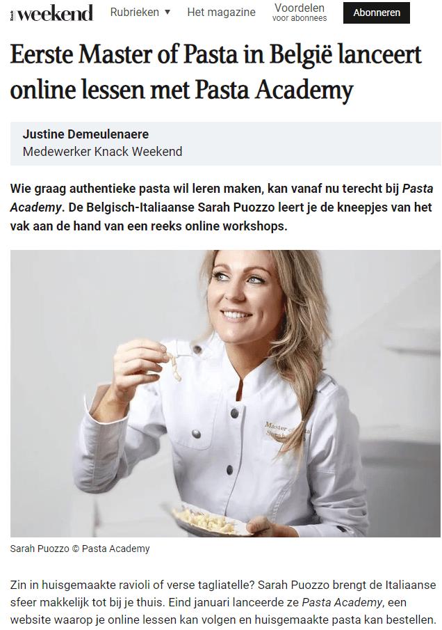 Weekend Knack over Pasta Academy